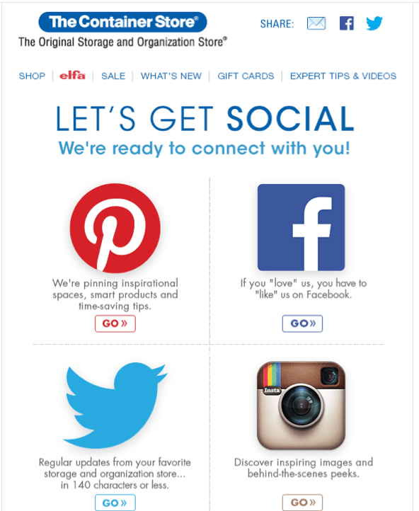 follow us on social email