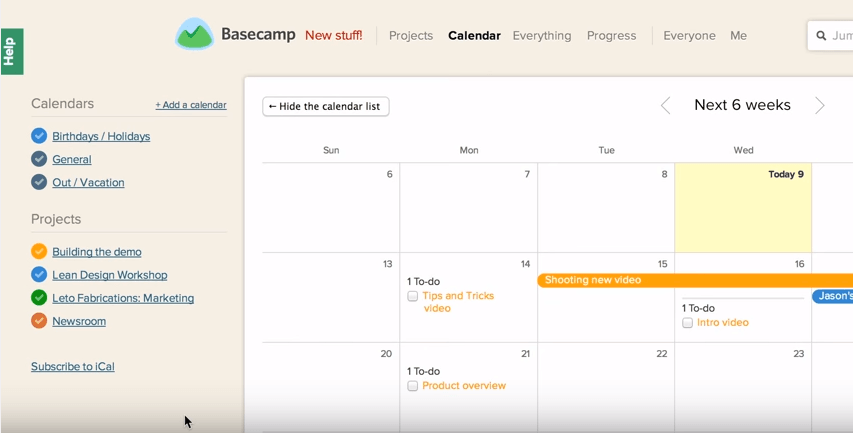 Basecamp calendar