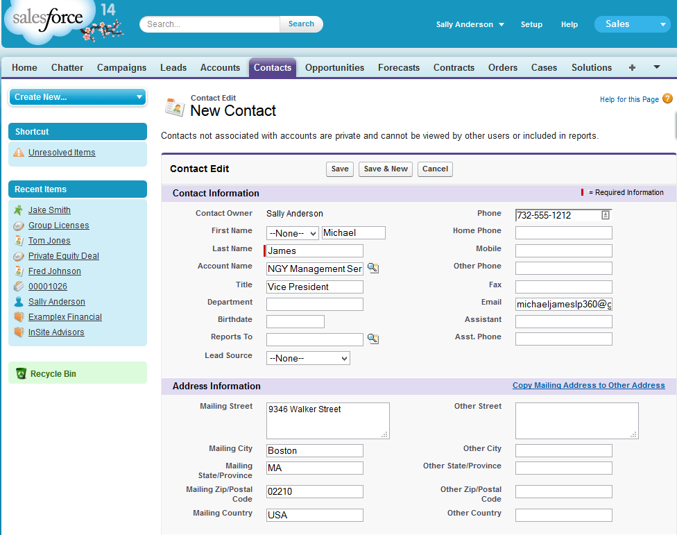 salesforce contact management