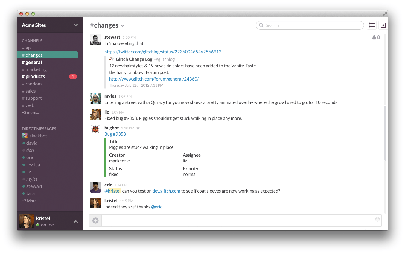 slack vs hipchat interface
