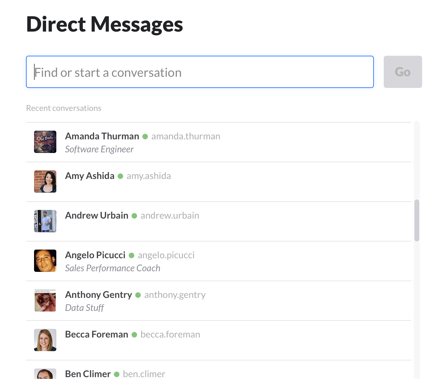 slack direct messaging