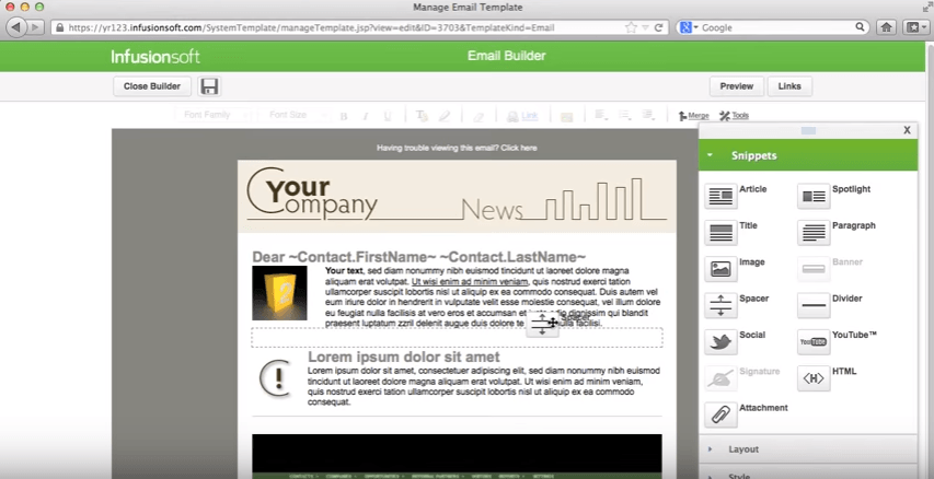 Infusionsoft's Landing Page Builder