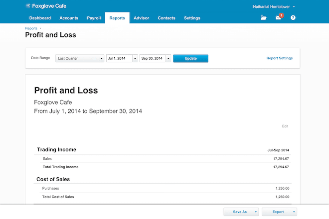 xero reporting screenshot