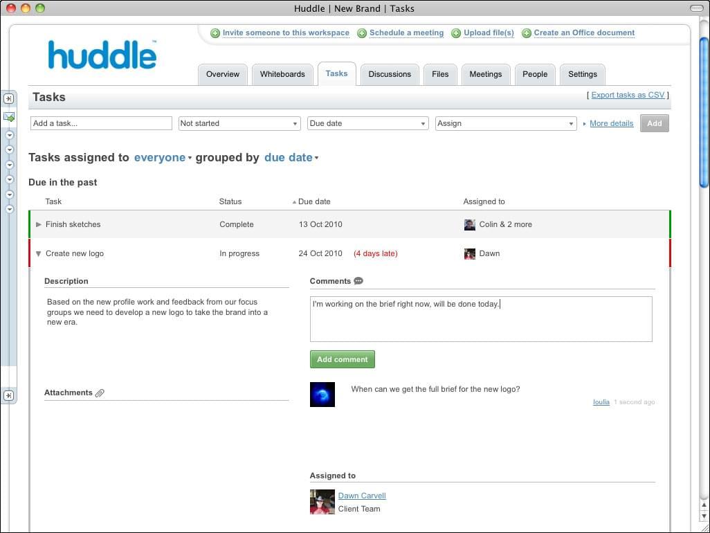 huddle screenshot, basecamp alternative