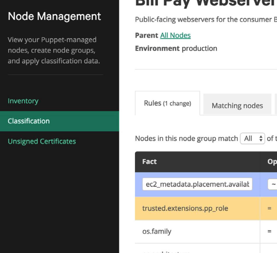 puppet node management screenshot