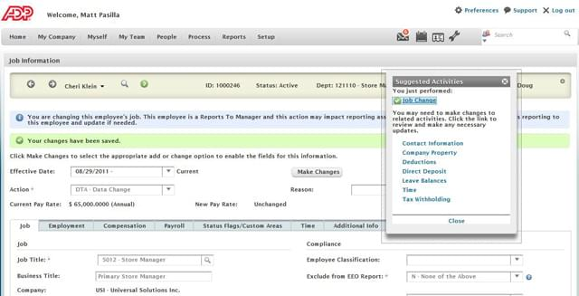 Vantage HCM screenshot