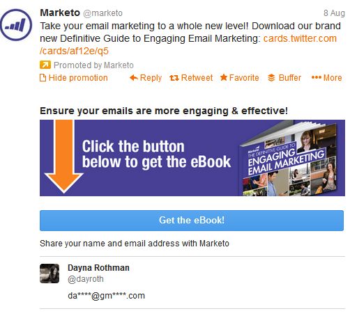 twitter lead generation ad - marketo