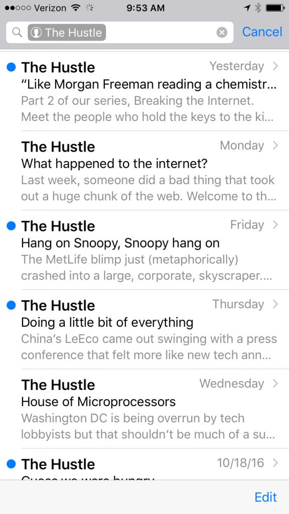 The Hustle has experienced rapid growth using creative headlines