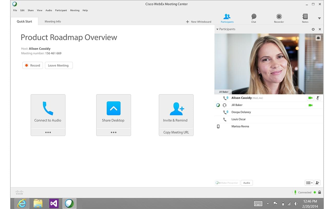 Skype alternatives: webex screenshot