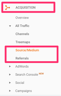 GA source medium traffic and referral traffic