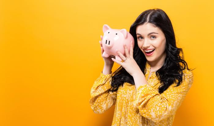 Girl with a piggy bank