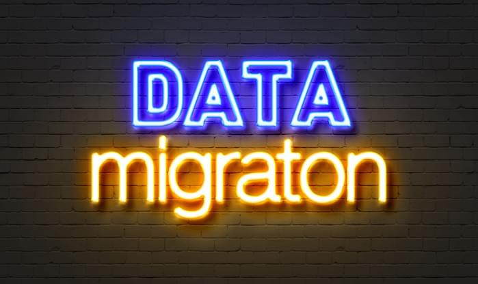 Data migration neon sign