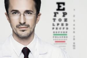 eyesight chart and man