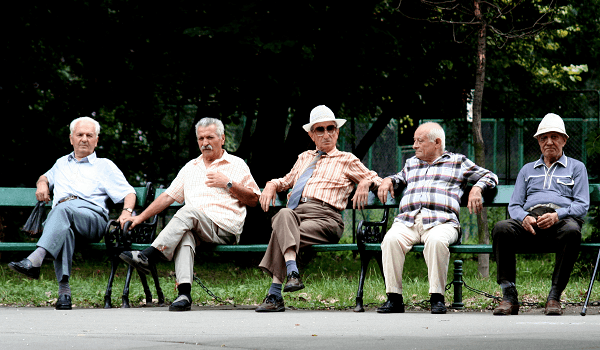 Seniors on a Bench Photo