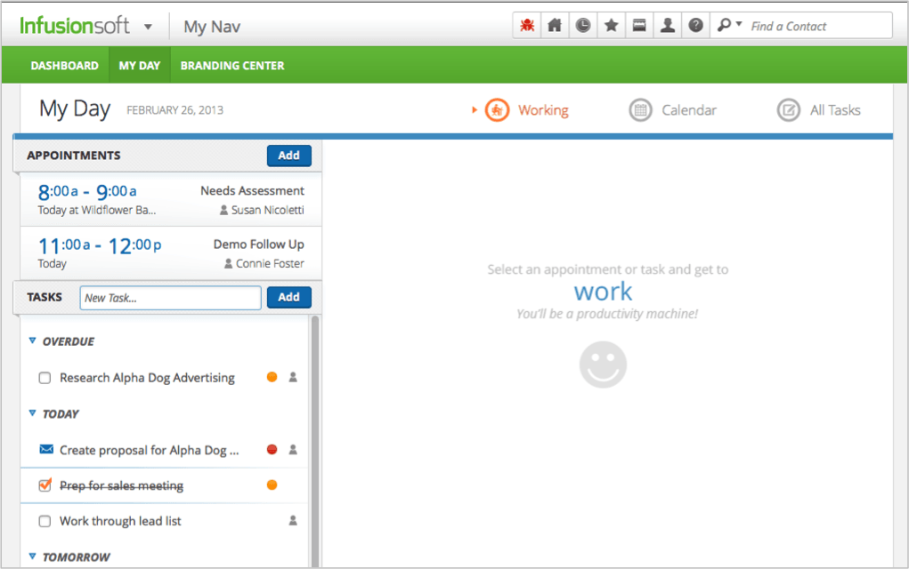 Infusionsoft CRM screenshot