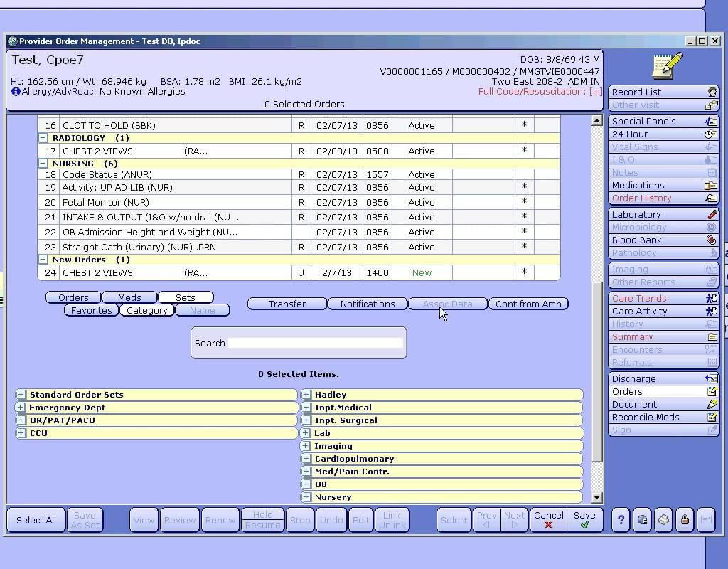 Meditech Screenshot - EMR