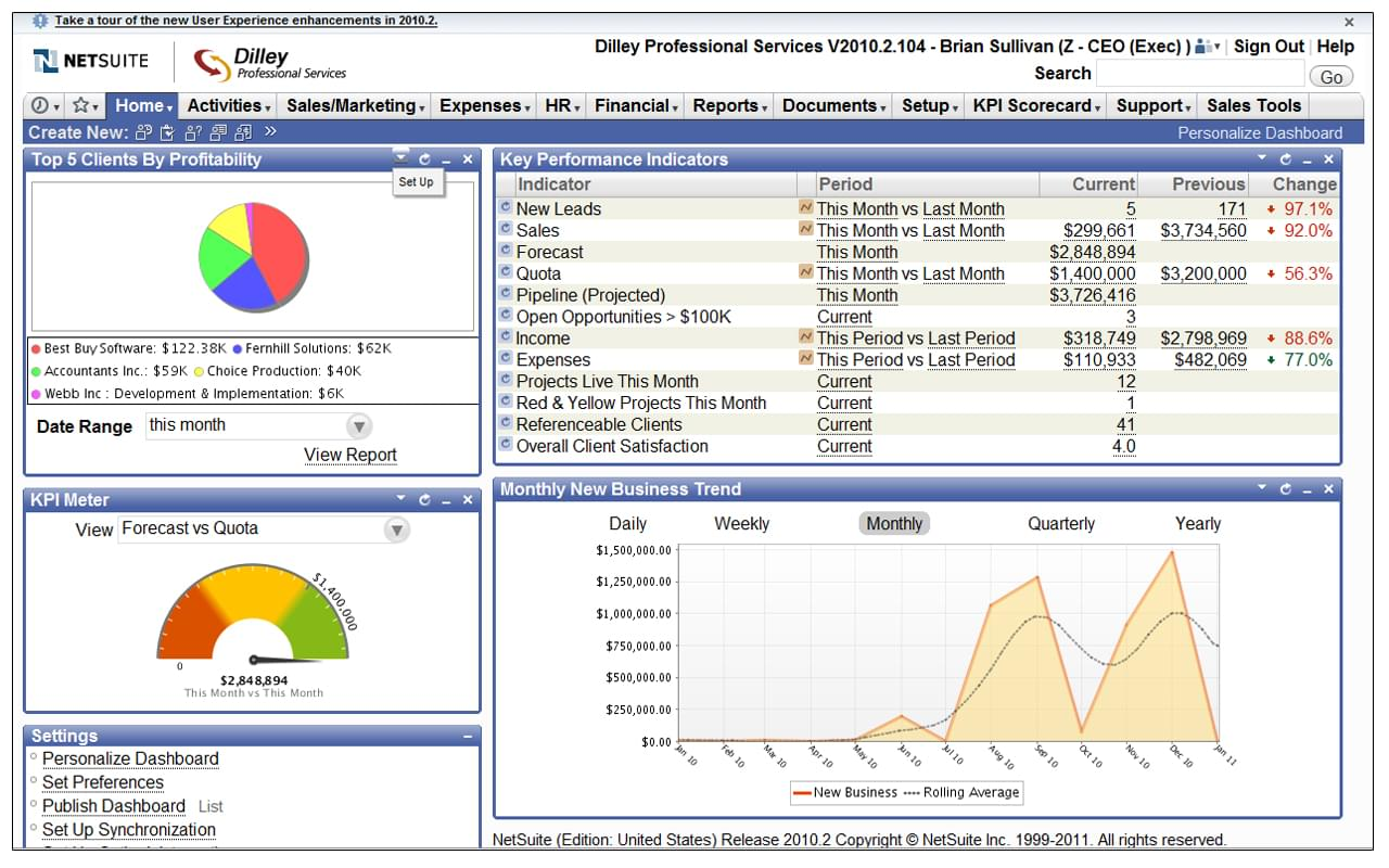 NetSuite CRM Screenshot