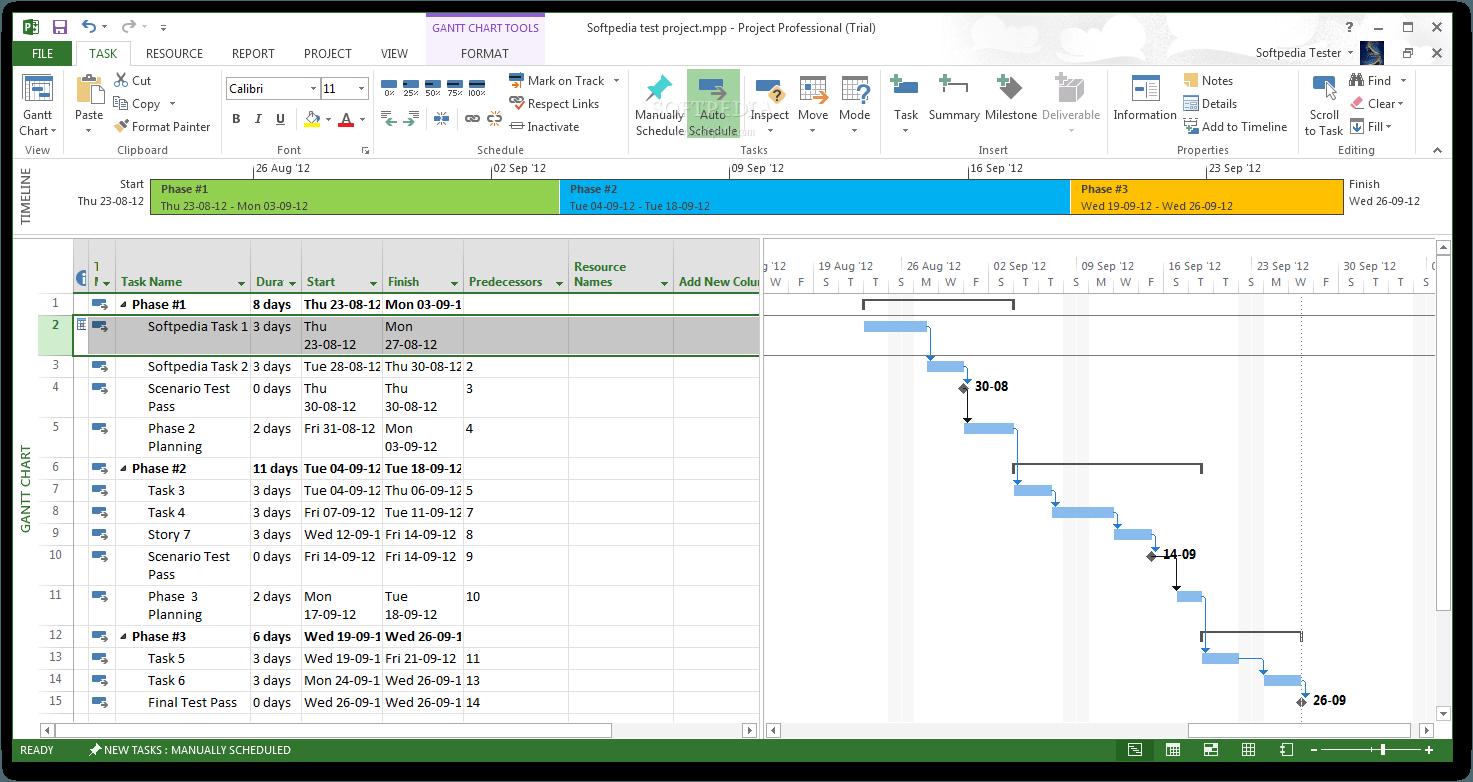 microsoft project gantt chart.