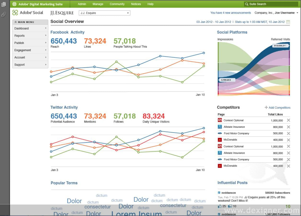 Adobe Analytics visual dashboard