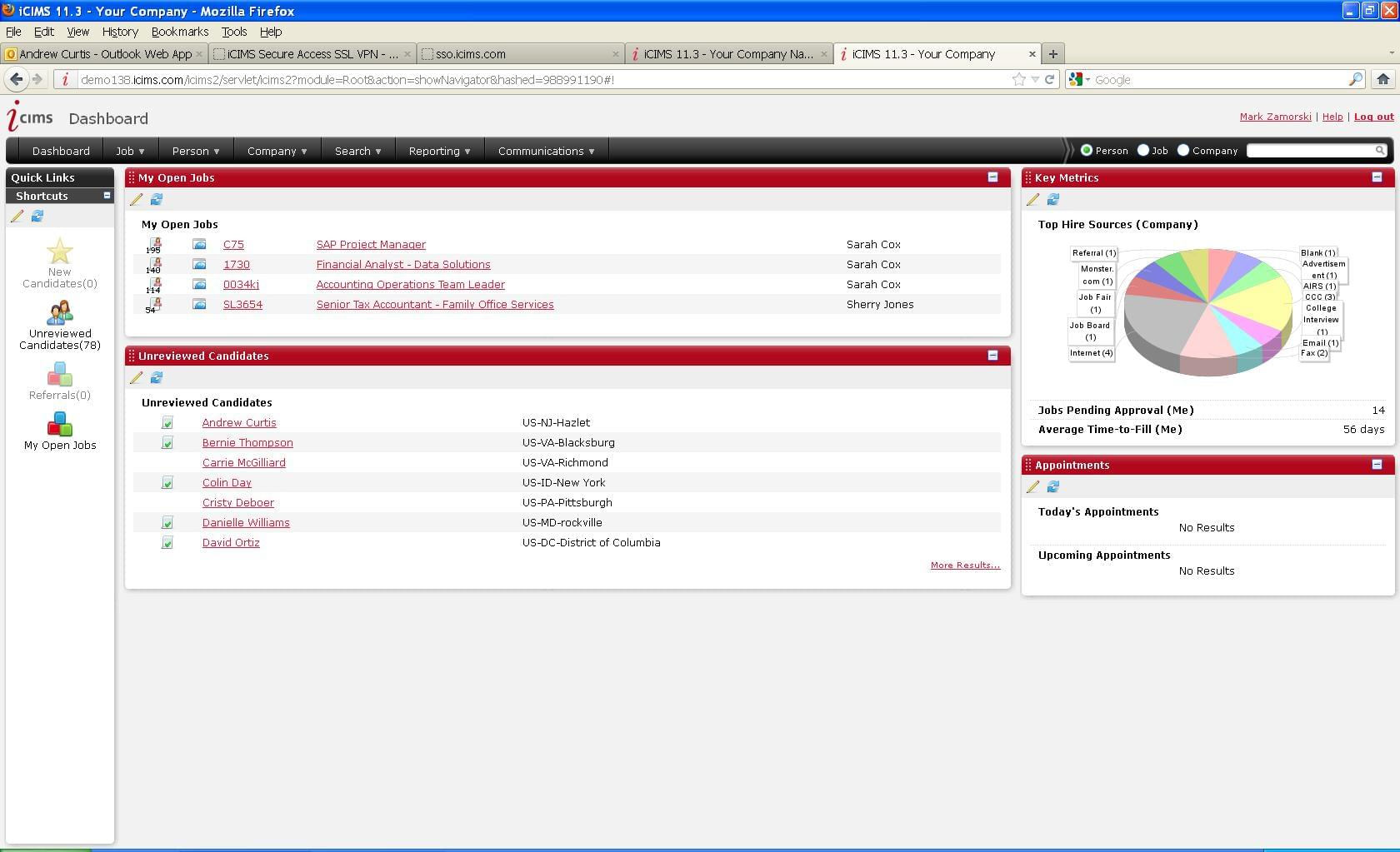 iCIMS recruiting dashboard with reminders and job candidates