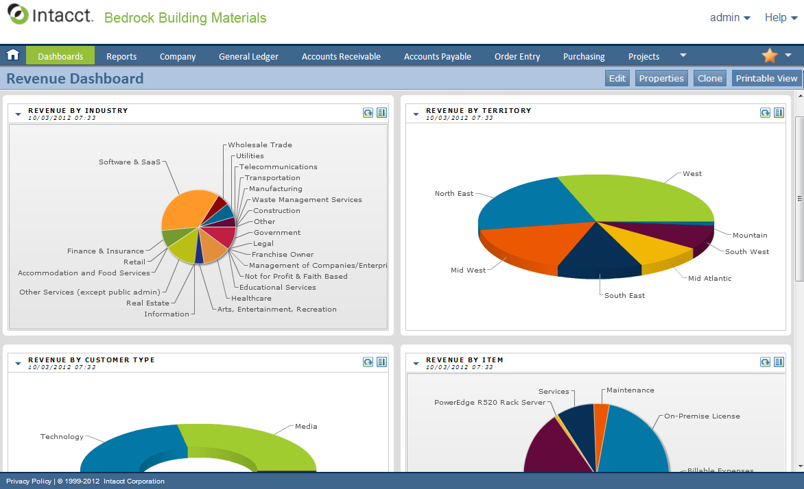 intacct accounting software screenshot