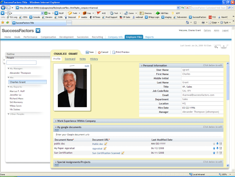 SuccessFactors HCM online dashboard