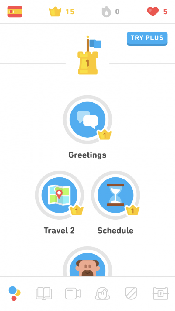 Screenshot of the lessons view in Duolingo for mobile.