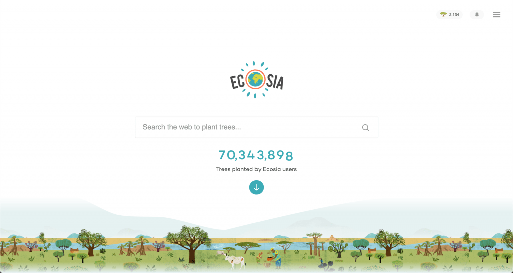 Screenshot of Ecosia's homepage, featuring a search bar.