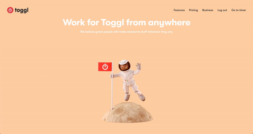 Screenshot of the careers page on Toggl's website.