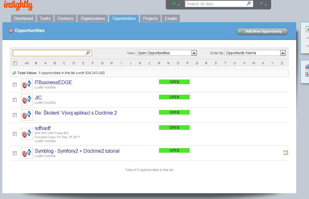 Insightly CRM Screenshot