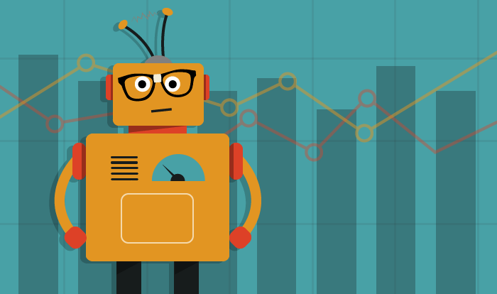 image of crm graphs and a robot