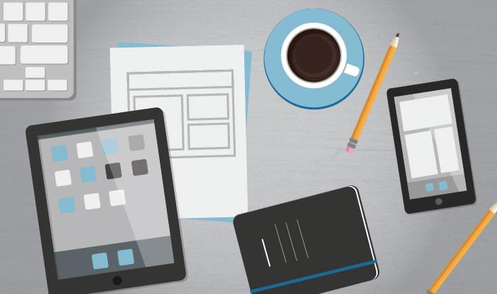 image of project portfolio management app and office supplies
