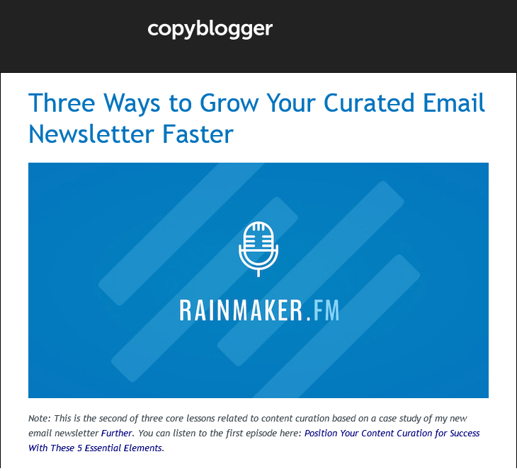 Copyblogger email marketing example