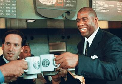 Magic Johnson when he opened the first UCO Starbucks