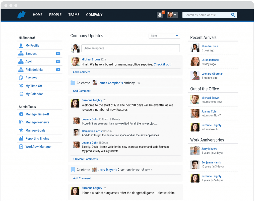 Hr software for small business: Namely user homepage