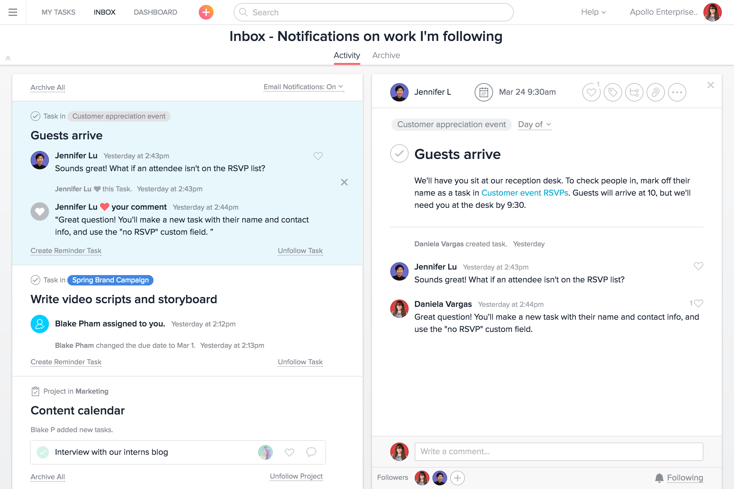 Asana notifications page.