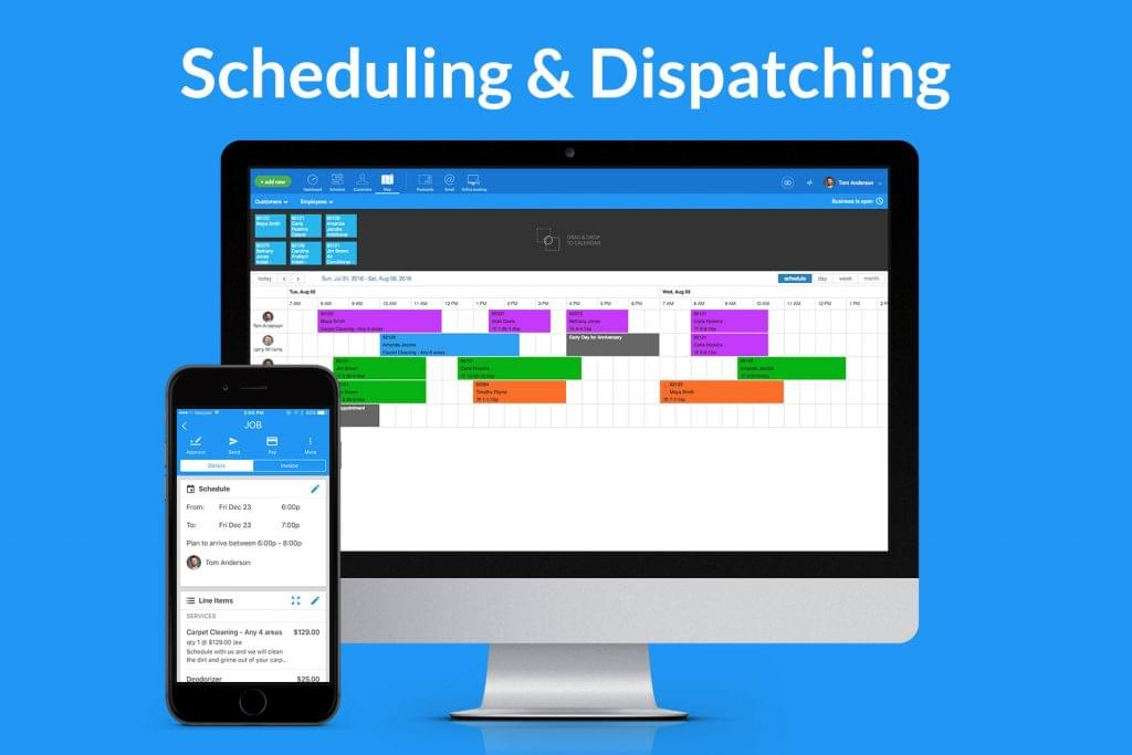 Screenshot of the scheduling and dispatching view for the desktop and mobile versions of Housecall Pro.