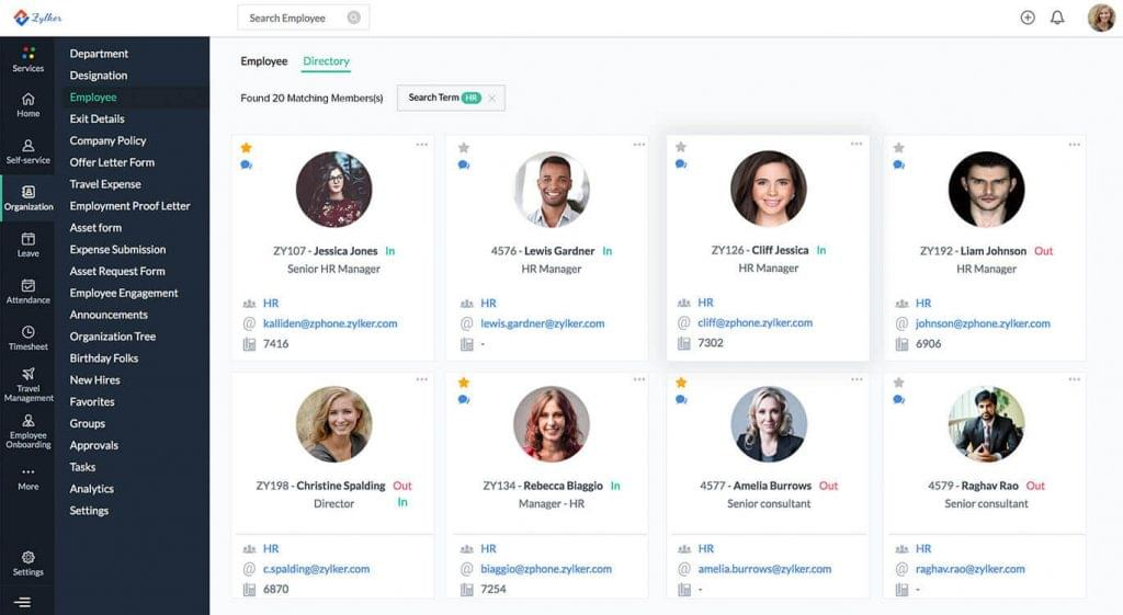 Screenshot of the employee directory in Zoho People.