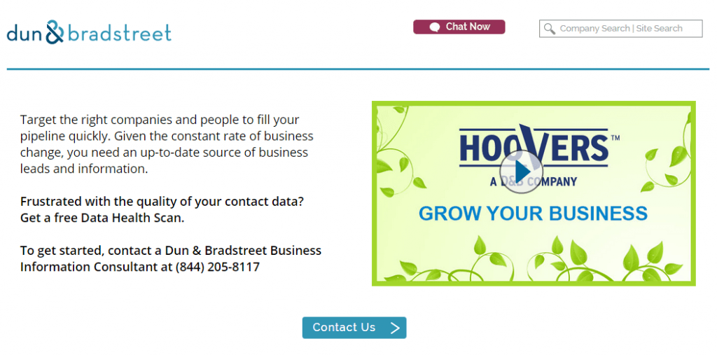 Example of how Dun & Bradstreet offer a free data health scan