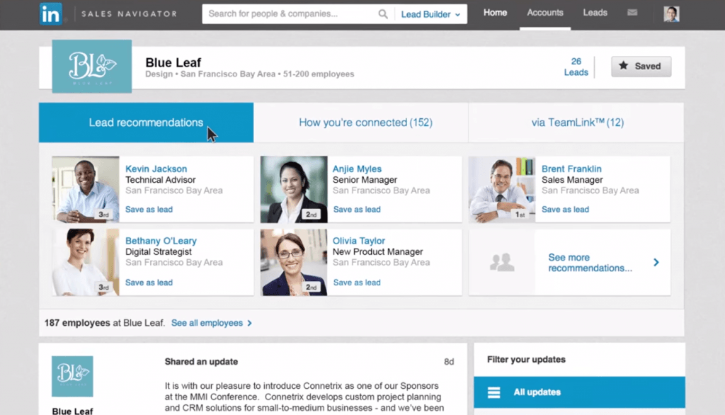 screenshot of LinkedIn Sales Navigator