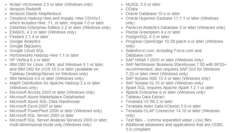 tableau connectors list