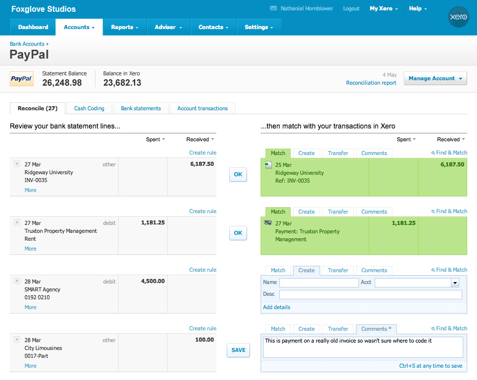xero bank accounts screenshot