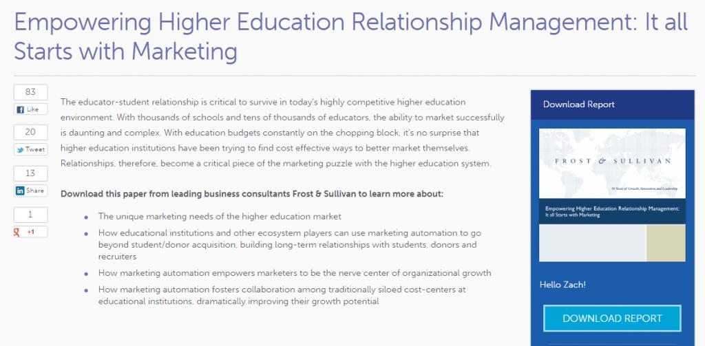 Marketo higher education campaign