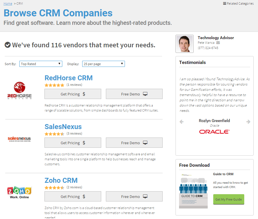 browse CRM software reviews