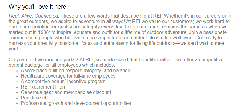 This REI post conveys the company's personality and covers the important benefits they offer.