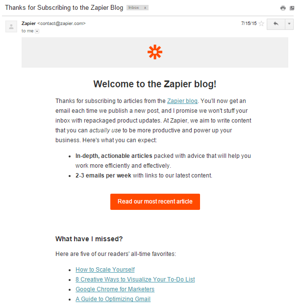 zapier blog subscribe
