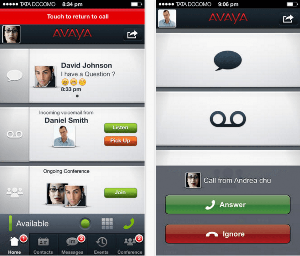 Avaya's native iOS app.