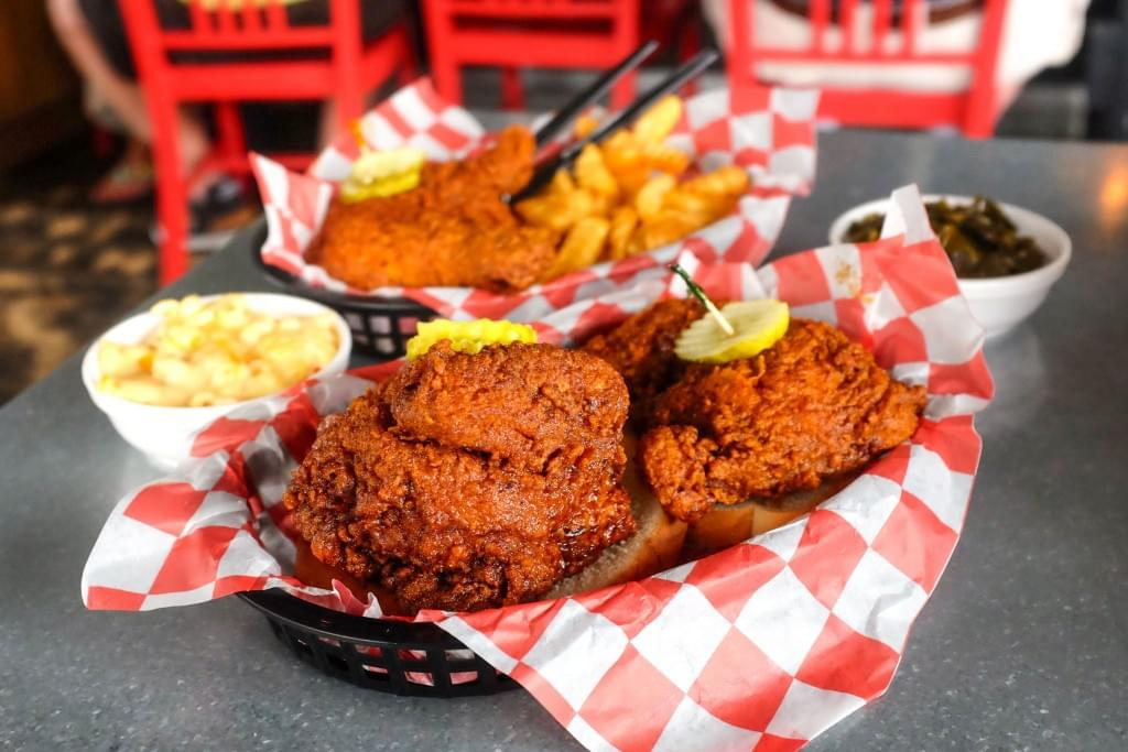 Hattie B's Hot Chicken with Mac-and-Cheese and Greens