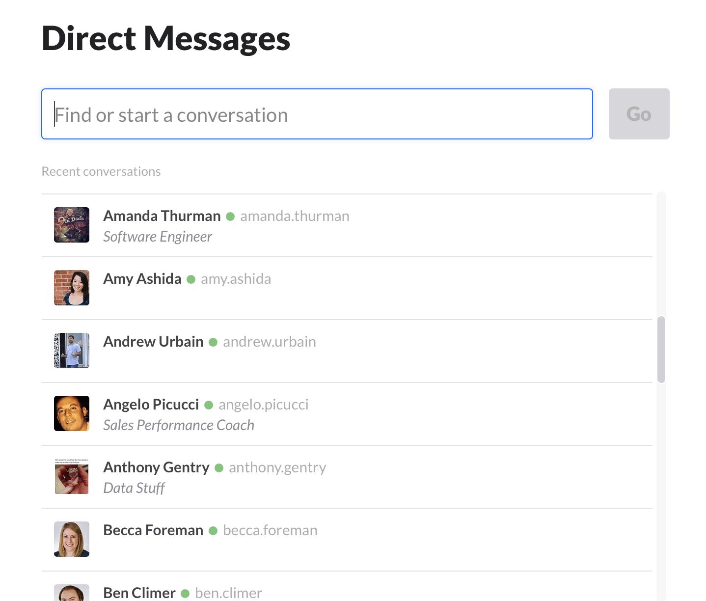 slack direct messaging