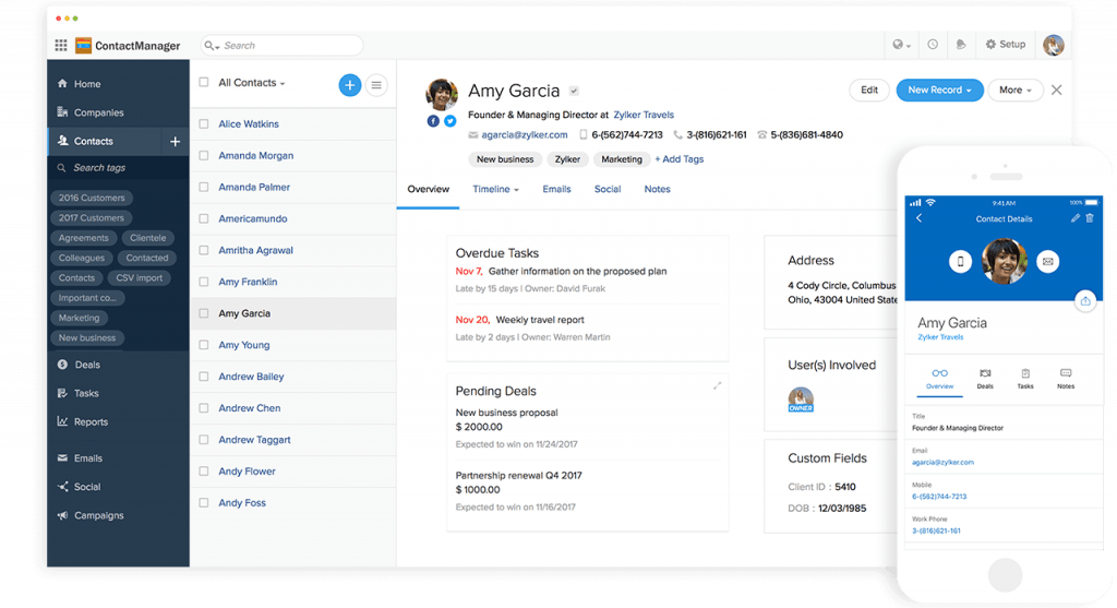 Screenshots showing the contact manager in Zoho for desktop and mobile